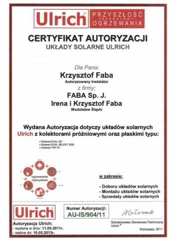 certyfikat Ulrich