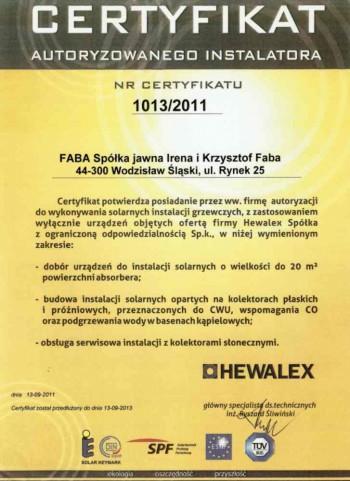certyfikat Hewalex