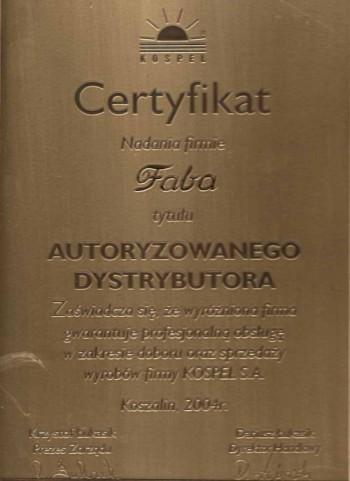 certyfikat kospel