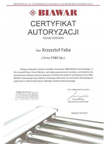 certyfikat Biawar
