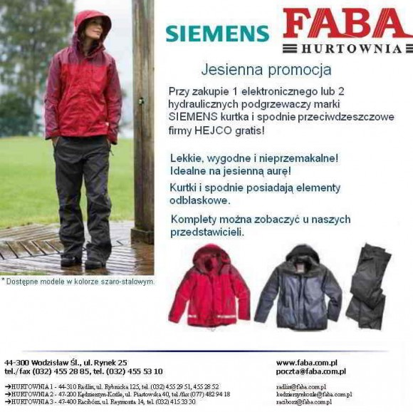 SIEMENS FABA promocja spodnie i kurtka
