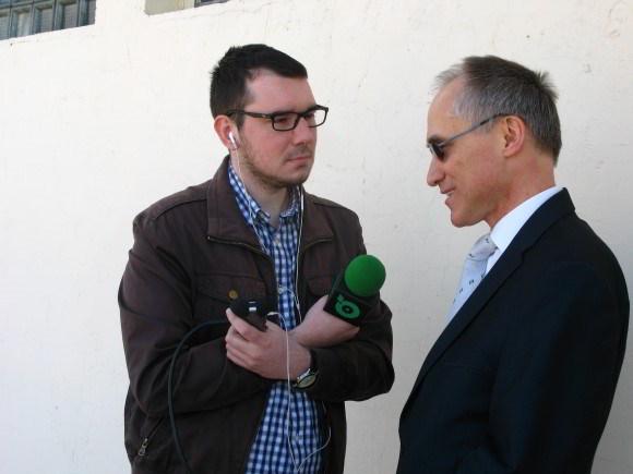 Organizator udziela wywiadu Radiu Park