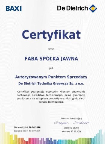 Certyfikat autoryzowanego punktu sprzedaży De Dietrich
