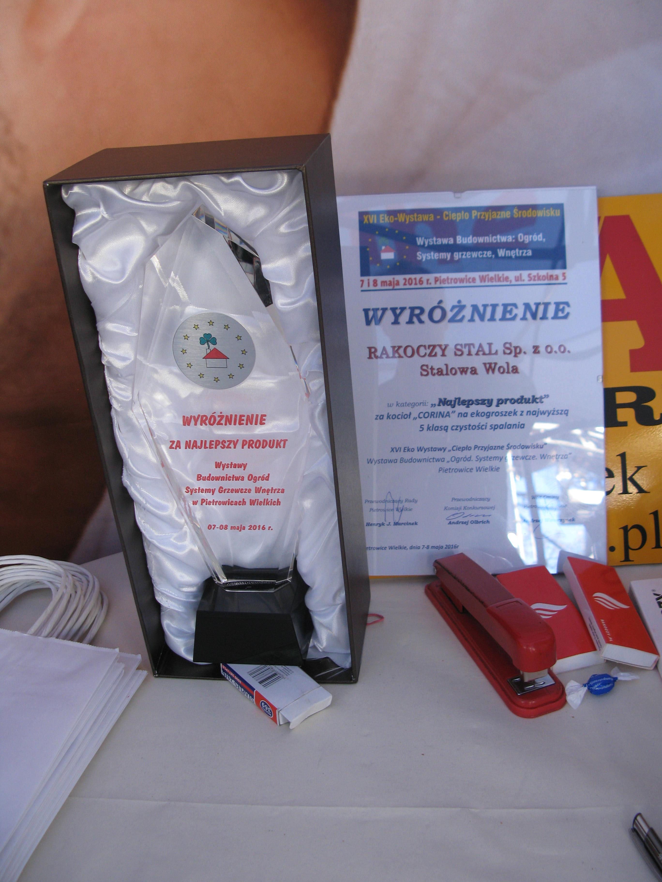 Wyróżnienie najlepszy produkt EKo-Wystawy 2016