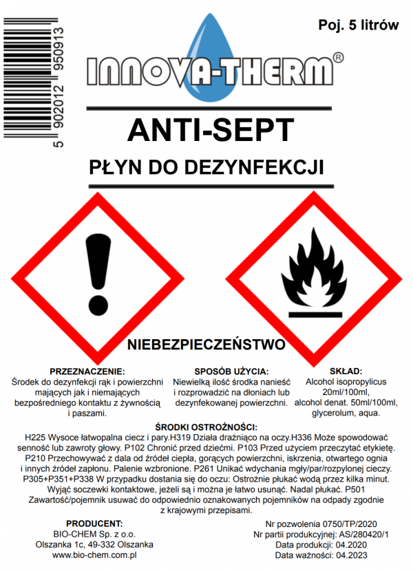 Anti-Sept 5L v2 etykieta